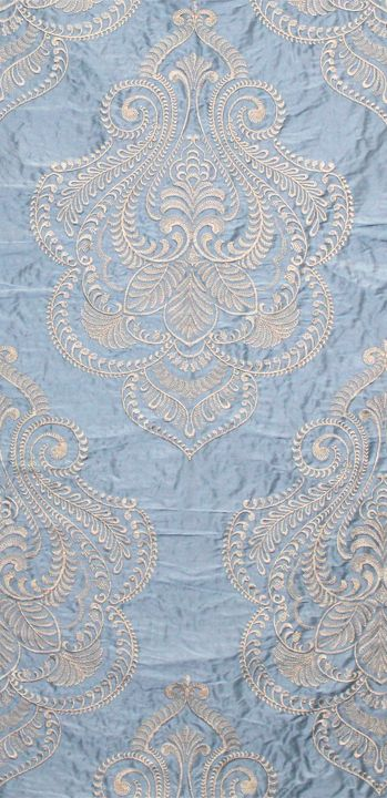 """""""Hillcrest"""" ivory embroidery on celestial blue from the """"Avalon"""" collection by Scalamandre Fabrics (49% Silk, 46% Viscose, 5% Spun Polyester."""