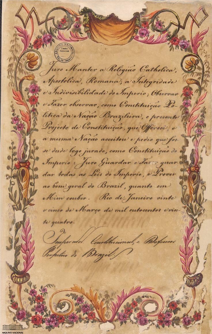 Juramento de D. Pedro I, Imperador do Brasil, à Constituição de 1824. Arquivo Nacional. Fundo Secretaria de Estado do Brasil. BR_RJANRIO_86_COD_0_0852_doc 42