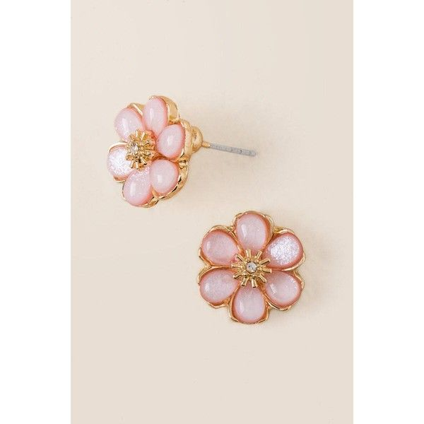 Daisy Flower Stud Earring - Blush ($6.98) ❤ liked on Polyvore featuring jewelry, earrings, blush, daisy jewelry, glitter earrings, flower stud earrings, glitter jewelry and pink jewelry