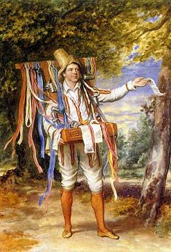 Fawcett as Autolycus in The Winter's Tale. Autolycus was a vagabond and ballad hawker.