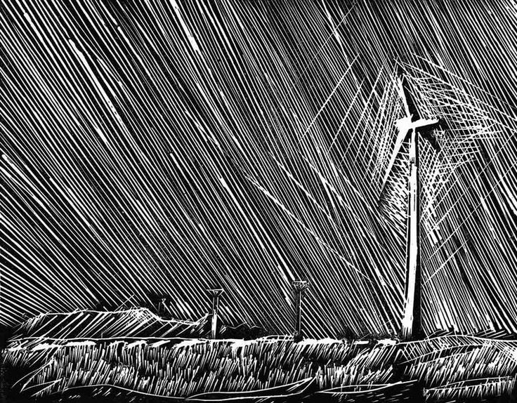 Angular wind, xylography by Julie Čermáková