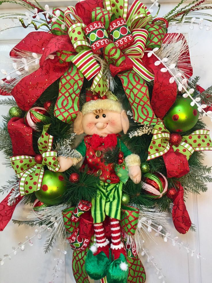 Whimsical Elf Christmas Pine Wreath by WilliamsFloral on Etsy https://www.etsy.com/listing/482106709/whimsical-elf-christmas-pine-wreath