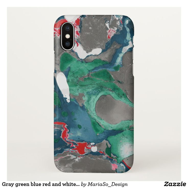 Gray green blue red and white Marble iPhone X Case