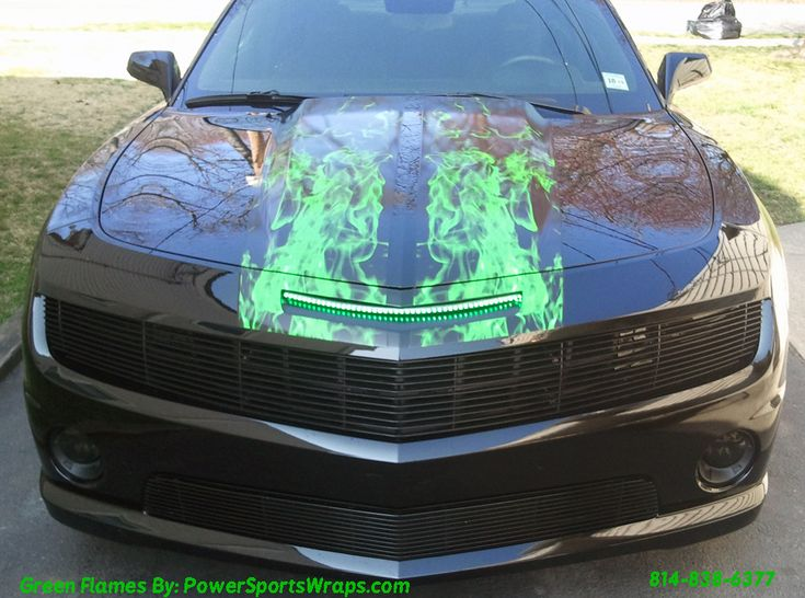 2012 Camaro SS Racing Stripe Kit- Custom Green Flames | Power Sports Wraps Customer Projects