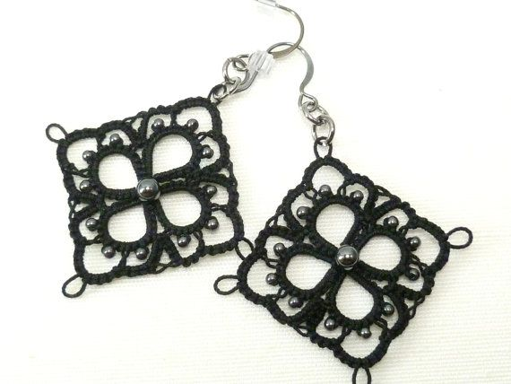 Tatted black Lace Earrings with Hematite beads -MOD in black via Etsy