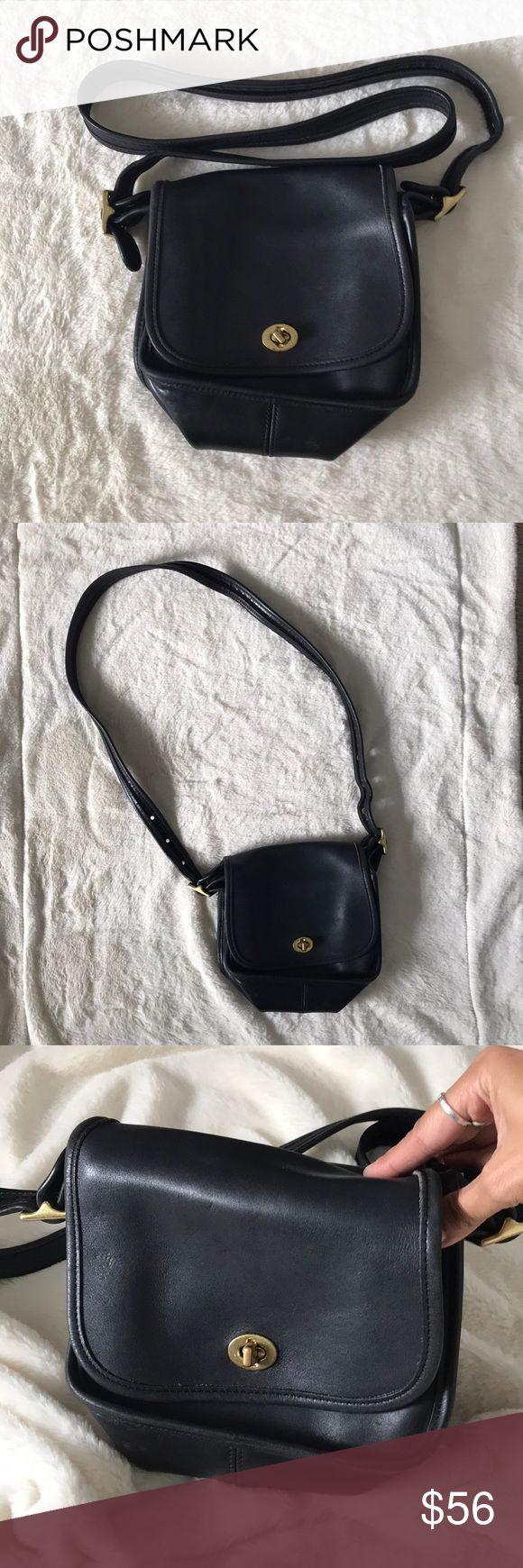 Vintage Coach black crossbody purse handbag Vintage Coach black crossbody purse handbag, Toggle closure, zipper pocket inside, purchased from another vintage seller with guarantee authenticity, great condition, worn a few times and received several compliments, but slightly too small for my everyday carry,   Please feel free to ask questions and/or make an offer.     Outside measurements Length 7in x Width 7in   Exterior pocket on the back 5in x 7in  Strap Length on longest setting 45in…