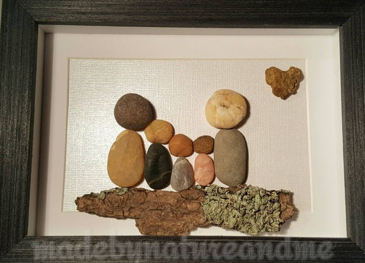 Unique family pebble art,  family pebble gift,  family of five,   unique housewarming gift,  personalized family gift,  anniversary gift by madebynatureandme on Etsy