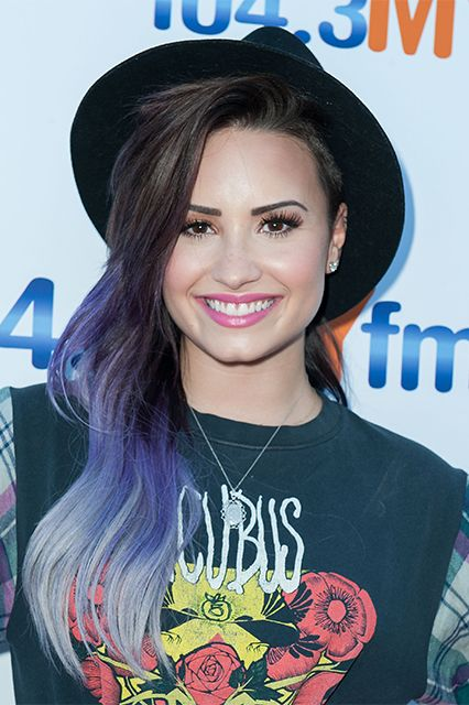 50 Shades Of Rainbow Hair #refinery29 http://www.refinery29.com/colorful-hair-tips#slide11 Demi Lovato loves to experiment with her hair. Our favorite? This fun take on purple-to-blue.