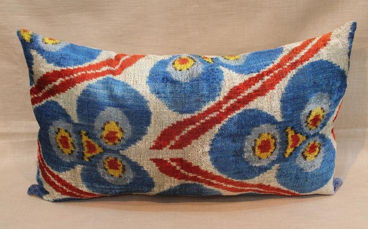 Velvet Ikat Pillow Cover - 15'' x 25'' Ikat Pillows Decorative Pillow Lumbar Blue Red Accent Pillow Blue Couch Pillows Sofa Large Pillows by salihtex on Etsy https://www.etsy.com/listing/254557319/velvet-ikat-pillow-cover-15-x-25-ikat