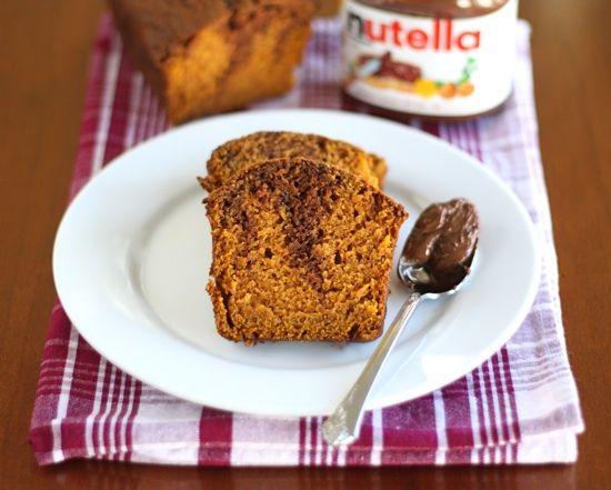 Pumpkin Nutella Bread Recipe on twopeasandtheirpod.com Love this pumpkin bread!