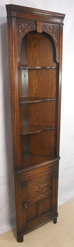 Tall Corner Cabinet | Tall Narrow Oak Corner Cabinet by Jaycee - SOLD