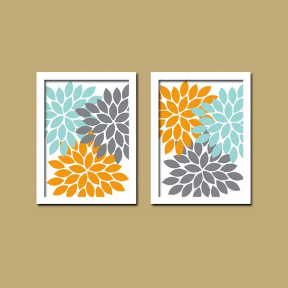 Aqua Gray Orange WALL ART Canvas Or Prints Bathroom