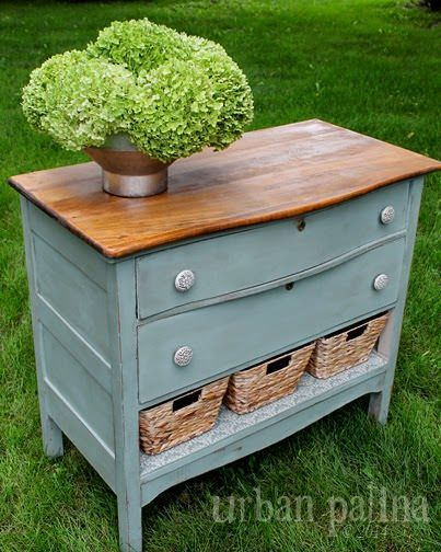 Great way to repurpose an old dresser that has a drawer that is beyond repair. This could go in the entry or be used as a bedside table or a sideboard in the dining room. More
