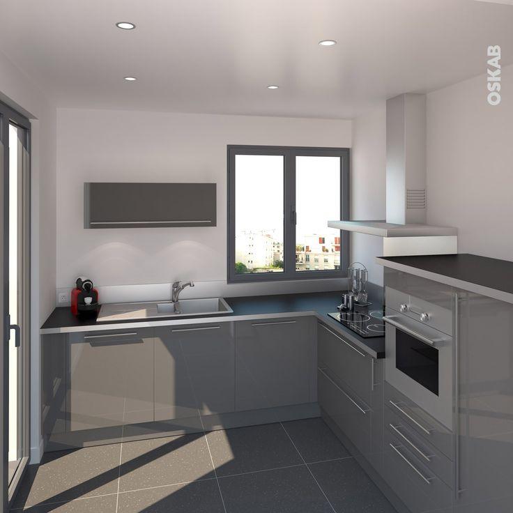 Rideaux Chambre Fille Conforama : Cuisine grise moderne façade STECIA Gris brillant  Design et Cuisine