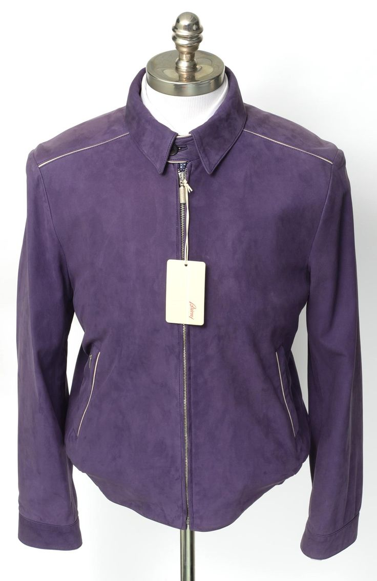 New BRIONI Italy Purple Suede Leather Zip Driving Jacket Bomber Coat 50 M L NWT! | http://www.frieschskys.com/shop-brioni | #frieschskys #mensfashion #fashion #mensstyle #style #moda #menswear #dapper #stylish #MadeInItaly #designer #ootd #brioni