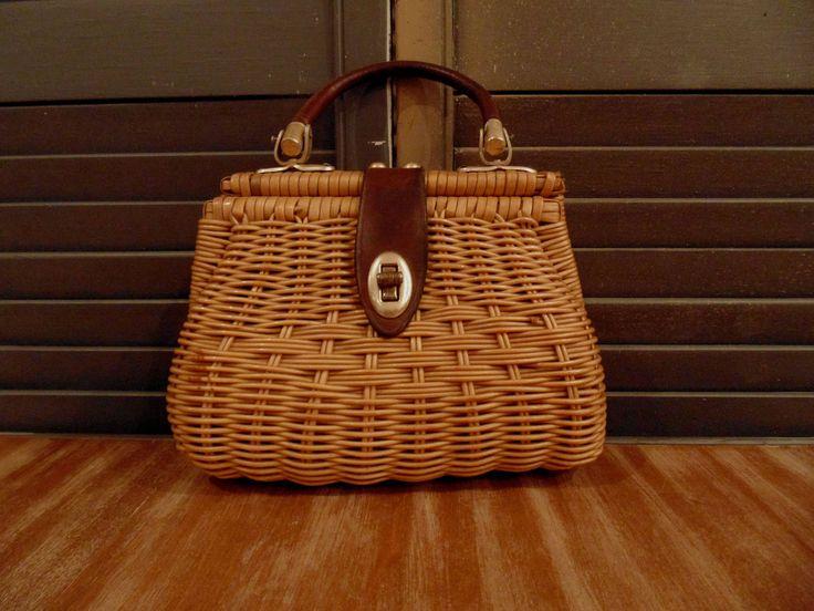 Rattan and Leather British Hong Kong Handbag by RedDressLife on Etsy