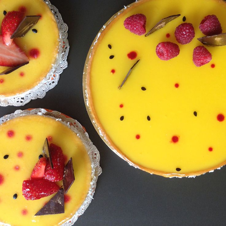 From Le Cordon Bleu -Intermediate level : Passionfruit Raspberry Tart. One of my favorite!