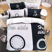 Bref 3D Ensemble de Literie de Son Côté Son Côté Design Amant Couette Cover Set Doux Drap Plat Noir Blanc Taie d'oreiller Reine Roi taille(China (Mainland))