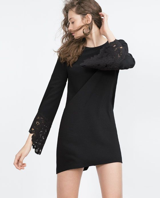 Image 1 of GUIPURE LACE FLARED SLEEVE DRESS from Zara