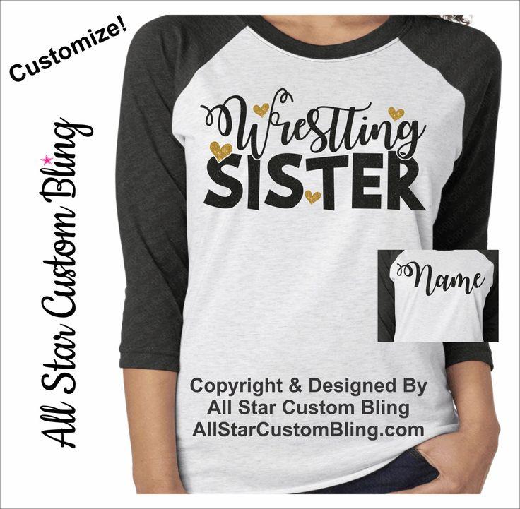 Glitter Wrestling Sister Tri-Blend Raglan, Custom Wrestling Raglan, Wrestling Sister Raglan, Custom Wrestling Shirt by AllStarCustomBling on Etsy