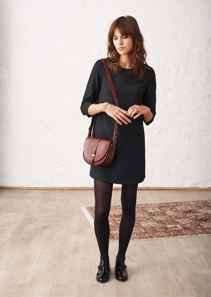 Sézane - Lauren Dress Marianne dress in black organic bamboo or ponte