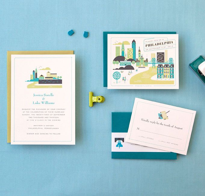 Visit Philadelphia Wedding Invitation by Lab Partners for Hello!Lucky