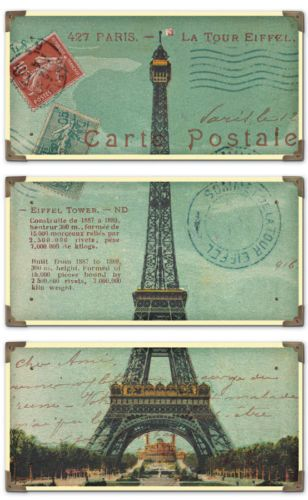 Vintage French Country Chic Paris France Eiffel Tower Postcard Wall Art Set of 3 | eBay