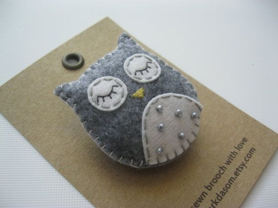 Hand+sewn+felt+brooch+Owl+by+parkdasom+on+Etsy,+$15.00