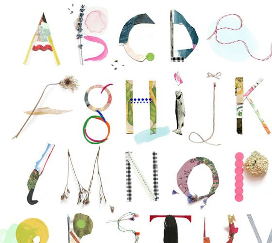 Lucie Everett. Alfalfabet. Handmade alphabet from my collage scraps. For frankie magazine, early 2012.