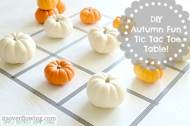 Play pumpkin tic-tac-toe. | 30 Cute And Clever Ways To Decorate For Thanksgiving