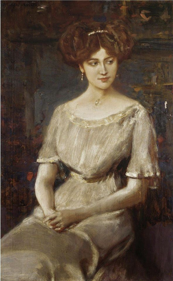 LARGE SIZE PAINTINGS: Albert VON KELLER Portrait of Elisabeth von Wichma...