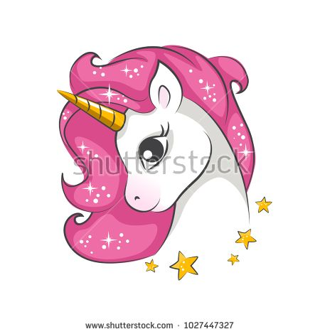 0c45497f Cute little pink magical unicorn. Vector design on white background. Print  for t-shirt. Romantic hand drawing illustration for children.
