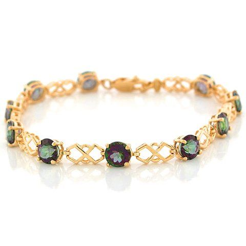 10k Yellow Gold Mystic Topaz Unique Cris Cross Gold Designer Bracelet