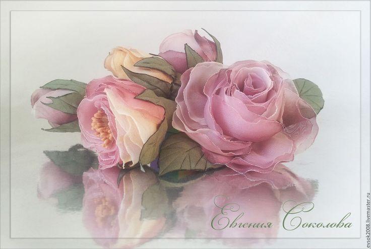 Купить Розы в причёску - бледно-розовый, розовые розы, свадебные аксессуары, для свадьбы, для свадебной прически