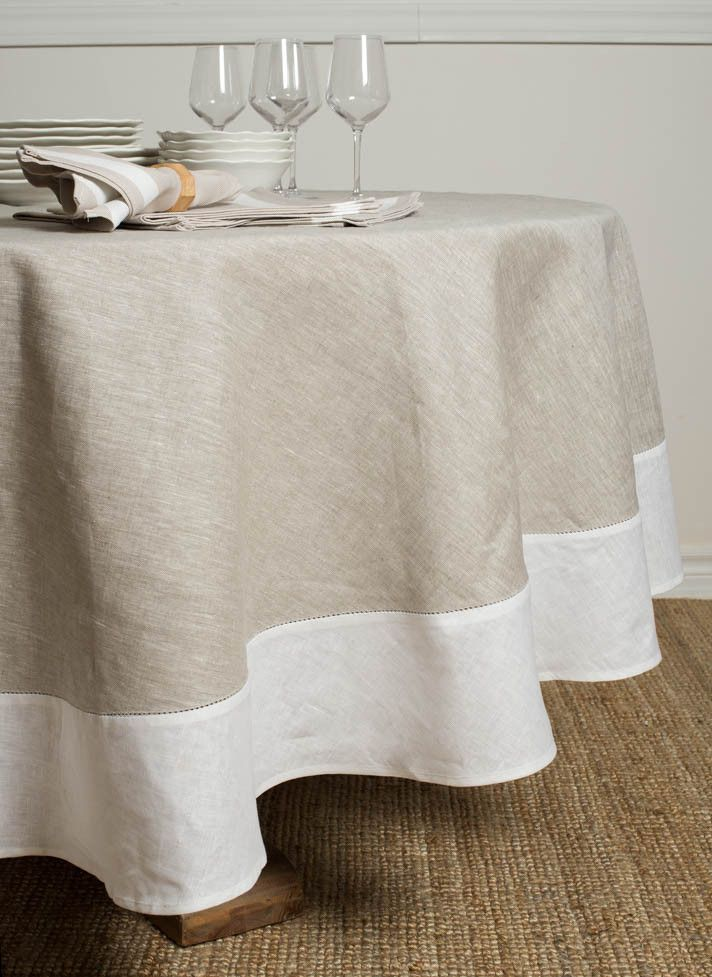 Atlas Round Tablecloth Natural with White Border