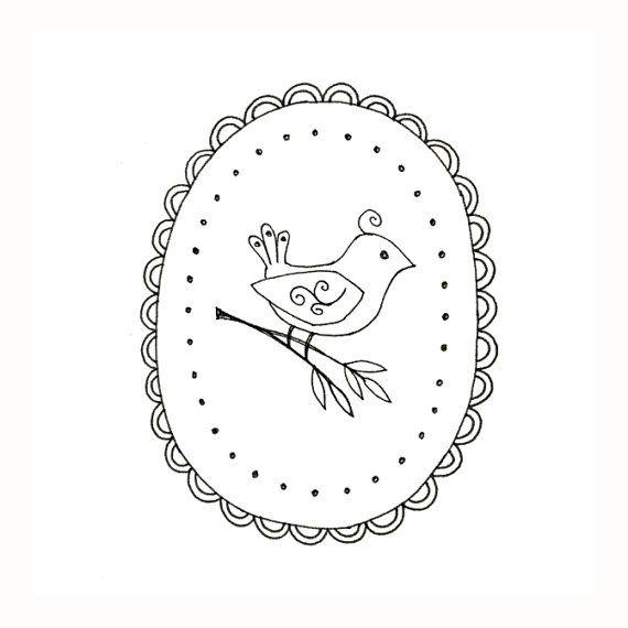 Bird Embroidery Pattern Woodland Animal Digital Downloadable