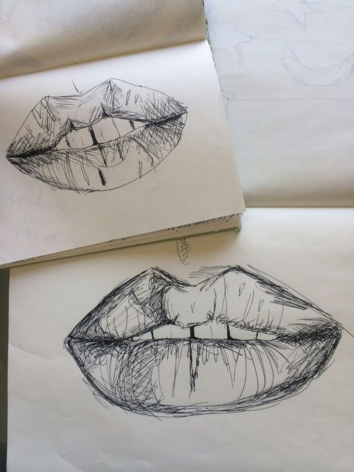 aesthetic, alternative, art, black and white, doodle, draw, drawing, girl, grunge, hipster, illustration, indie, lips, pale, pastel, soft, soft grunge, tumblr, vintage, First Set on Favim.com