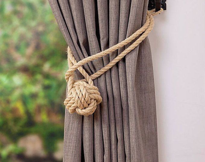 Jute And Hemp Rope Tassel Nautical Curtain Tie Backs Etsy