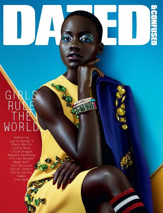 """Fashion darling and star of """"12 Years a Slave"""", Lupita Nyong'o, appears on the February cover of Dazed & Confused magazine."""