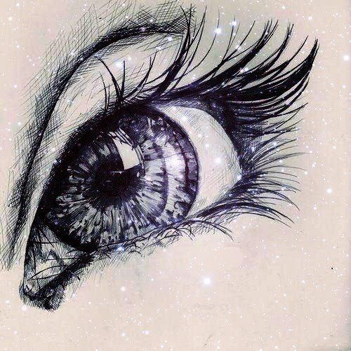 """Cool EYE drawing w/ """"sparkles"""". *looks like the GREEN eye that I have already pinned....just diff. color & """"sparkles""""."""