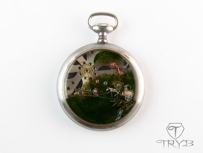 Shire, Baggend and Gandalf... presage of tales and adventures - steel pocket watch case pendant. #handmade #clockwork #pendant #tryb #jewelry #tolkien #shire #gandalf #watch #Hobbit
