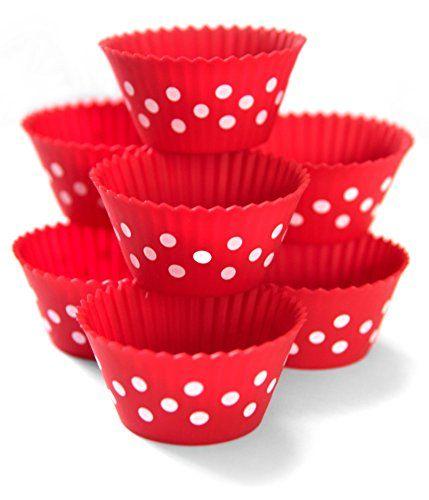 Maubi Creations Polka Dot Silicone Baking Cups, Colourful Silicone Cupcake Molds, Silicone Cupcake Liners ,12 Pack, Baking Cups, Cupcake Molds, Muffin Liners