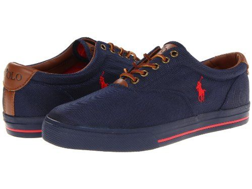 Polo Ralph Lauren Men\u0027s Vaughn Fashion Sneaker,Newport Navy/Red Nylon,10.5 D