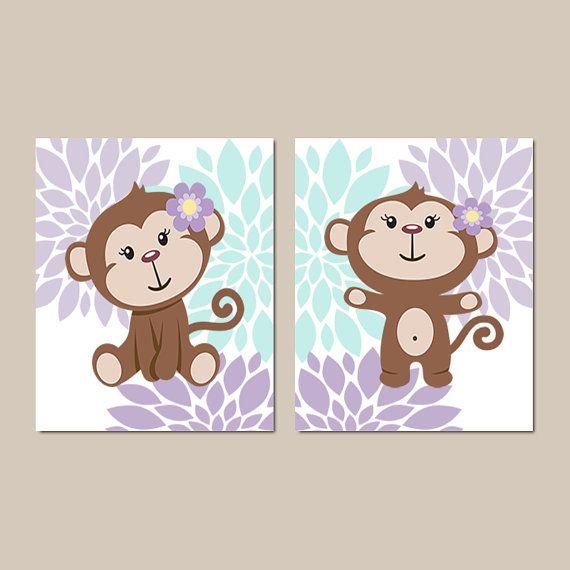 Girl Monkey Wall Art Baby Girl Nursery Decor by LovelyFaceDesigns