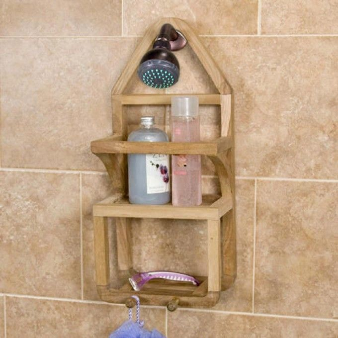 Teak Shower Caddy Shower Caddies Bathroom Accessories Bathroom Bathroomorganization Shower Accessories Shower Storage Shower Basket