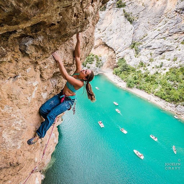 Thanks @jocelynchavy for this awesome picture!! (Repost)  Gorges du Verdon France. Caroline Ciavaldini @onceuponaclimb enjoying great view above the stunning waters of Verdon during the #nightrayfest by @thenorthface one week ago. Shooting with Caro and her man James Pearson was great not to mention the nice talk with Yuji Hirayama @stonerideryuji the climbing legend. The three climbers are currently cruising all the mythic crags of south of #France #climbing some 8c on the way filmed by…