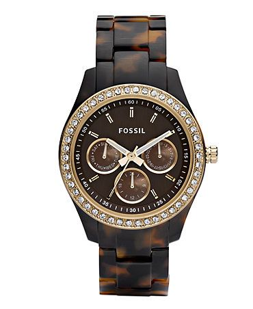 Fossil's tortoise shell watch...awesome replacement for my broken Michael Kors :)