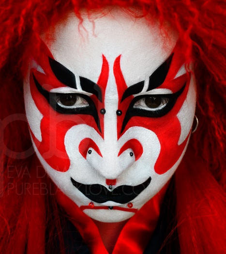 Kabuki (歌舞伎) is a classical Japanese dance-drama. Kabuki theatre is known for the stylization of its drama and for the elaborate make-up worn by some of its performers