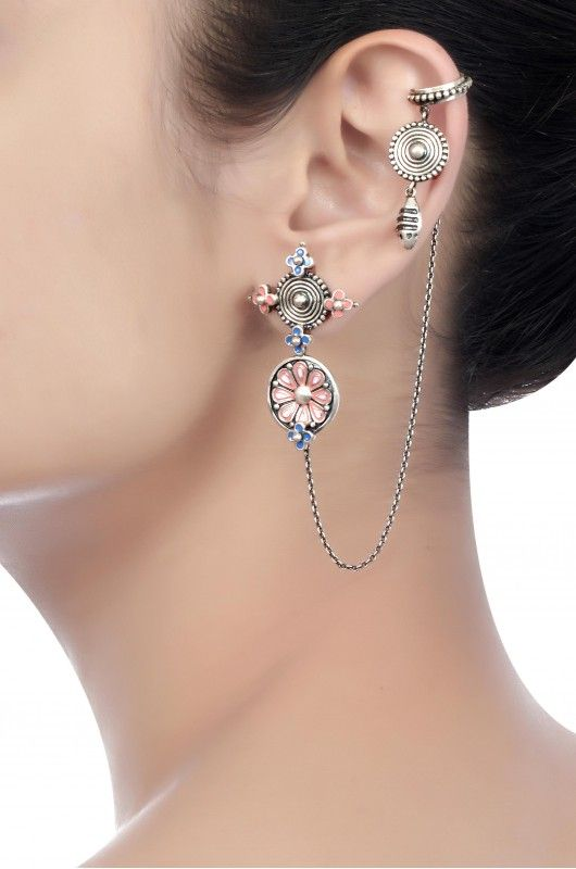 amrapali Pink Enamel Coin EarCuffs - Google Search