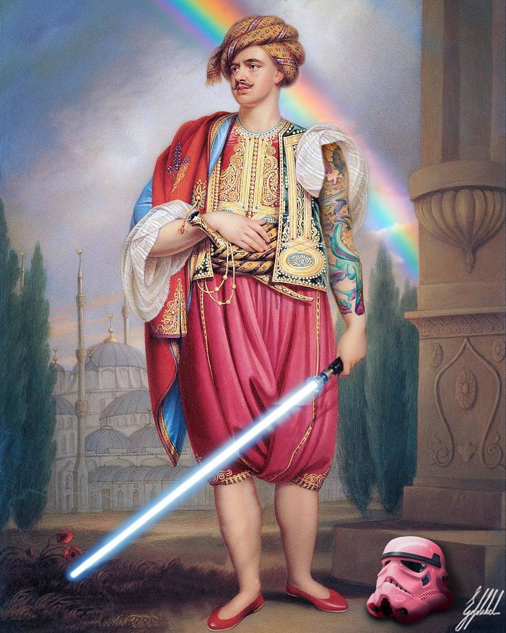 #famous #painting #starwars #lgbt #rainbow #stormtrooper #art #artwork #photomanipulation  What If Ottomans were from the Star Wars Universe?  A portrait of Thomas Hope inOttoman Costume painting by Henry Bone.
